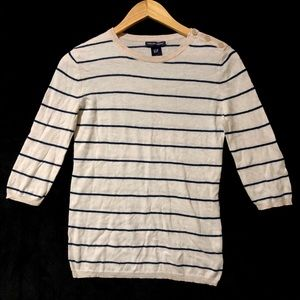 Gap Cashmere Stripe Button Shoulder Sweater I